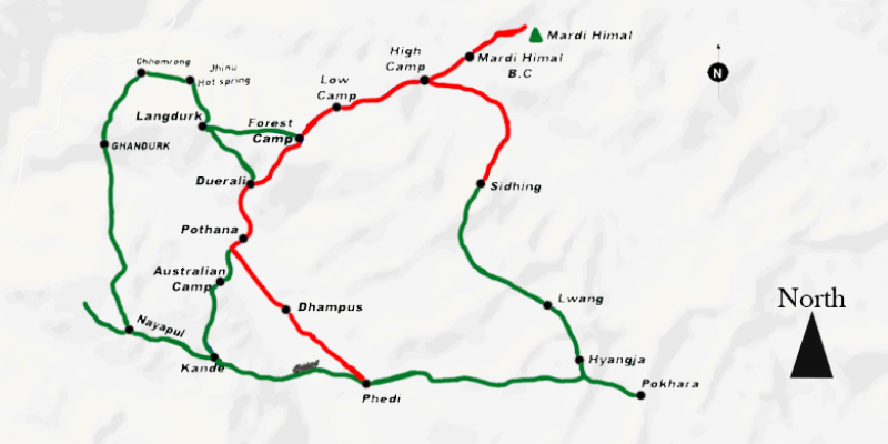 Mardi Himal Trek routemap