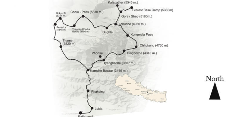Everest Three High Passes Trek - 19 Days routemap