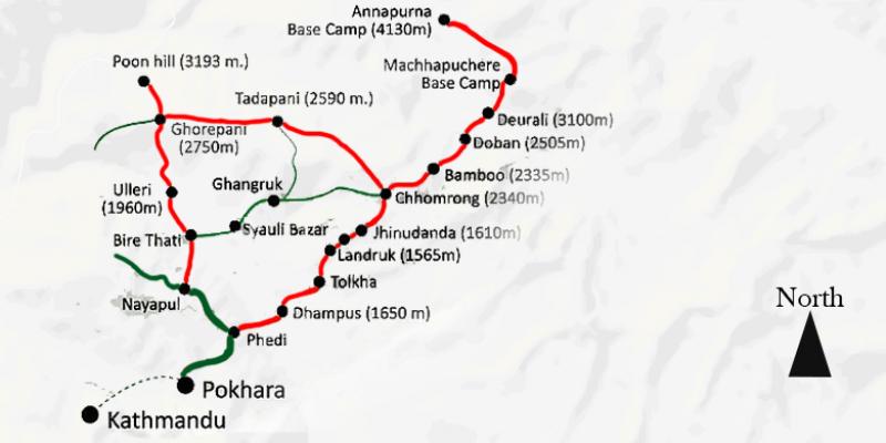Annapurna Base Camp Trek - 15 days routemap