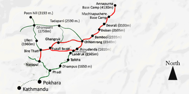Short Annapurna Base Camp Trek - 11 Days routemap