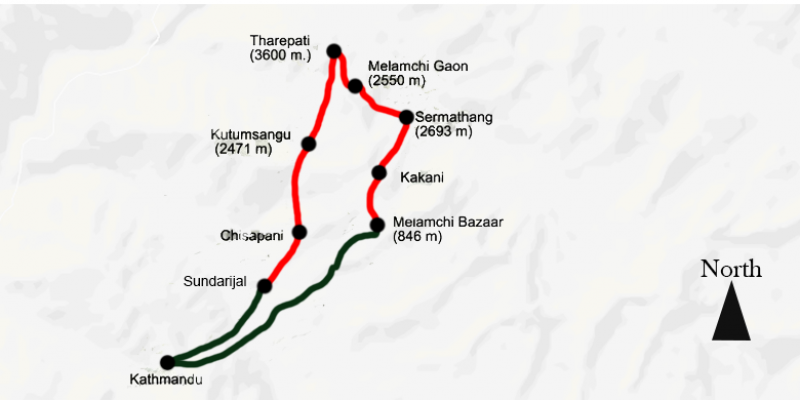 Helambu Trek 9 days routemap