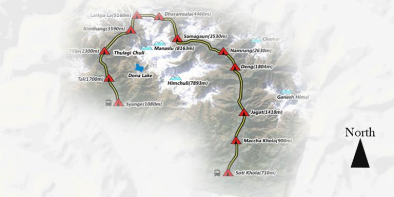 Short Manaslu Circuit Trek - 11 Days routemap