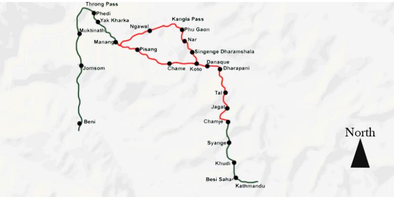 Nar-Phu Valley 15 days routemap