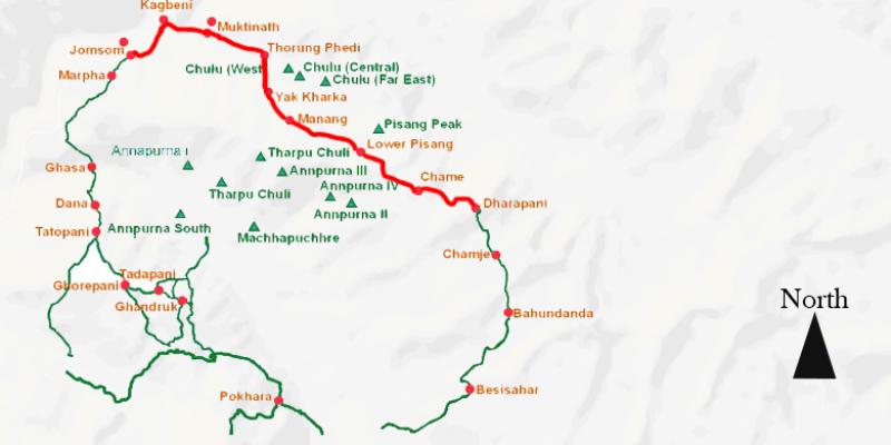 Rapid Annapurna Thorong-La Pass - 14 days routemap